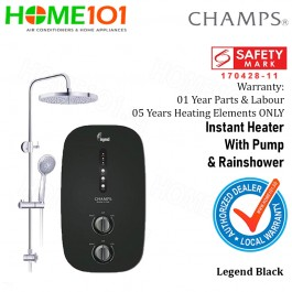 Champs Electric Instant Water Heater with DC Pump and Rainshower Legend BLACK