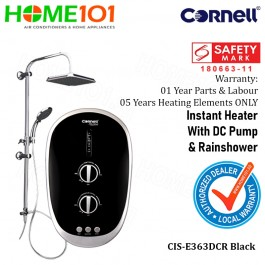 Cornell Electric Instant Water Heater with DC Pump and Rainshower CIS-E363DCR BLACK
