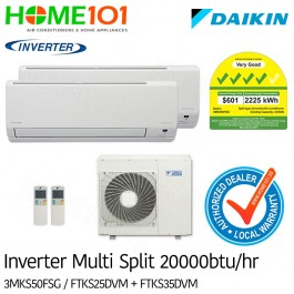 Daikin Multi-Split AirCon *with FREE Replacement Service* - [SYSTEM. 2] 3MKS50FSG/FTKS25 + FTKS35