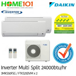 Daikin Multi-Split AirCon *with FREE Replacement Service* - [SYSTEM. 2] 3MKS50FSG/FTKS25 X 2