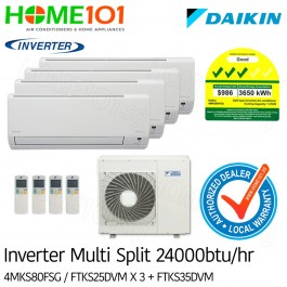 Daikin Multi-Split AirCon *with FREE Replacement Service* - [SYSTEM. 4] 4MKS80FSG/ FTKS25 x 3 + FTKS35