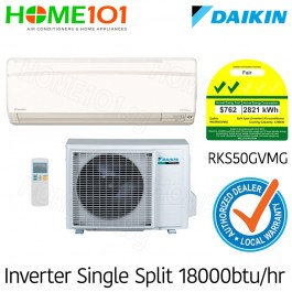 Daikin Single Split Series 2 Ticks AirCon 18000BTU RKS50GVMG [System 1] *with FREE Replacement Service*