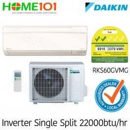 Daikin Single Split Series 2 Ticks AirCon 22000BTU RKS60GVMG [System 1] *with FREE Replacement Service*