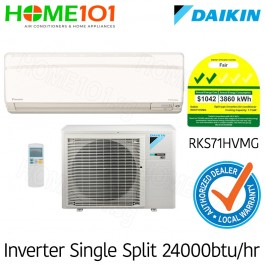 Daikin Single Split Series 2 Ticks AirCon 24000BTU RKS71HVMG [System 1] *with FREE Replacement Service*