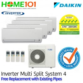 Daikin Multi Split AirCon [SYSTEM. 4] *with FREE Replacement Service*