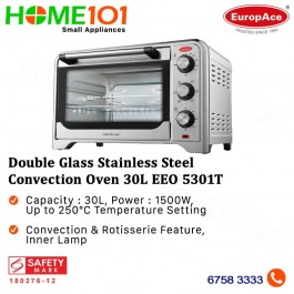 EuropAce Double Glass Stainless Steel Convection Oven 30L EEO 5301T