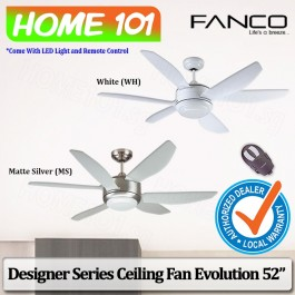 Fanco Designer Series Ceiling Fan w/ LED Light Remote Ctrl Evolution 52