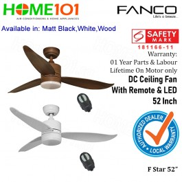 Fanco DC Motor Ceiling Fan With Remote and LED Light 52 Inch F Star Series