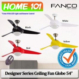 Fanco Designer Series Ceiling Fan w/ LED Light Remote Ctrl Globe Series 54