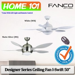 Fanco Designer Series Ceiling Fan w/ LED Light Remote Ctrl I-Swift 50