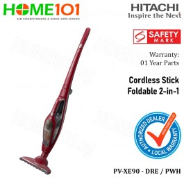 Hitachi Foldable 2-in-1 Cordless Stick Vacuum Cleaner PV-XE90 - DRE / PWH