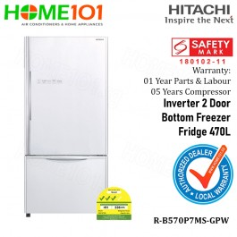 Hitachi Inverter 2 Door Bottom Freezer Fridge 470L R-B570P7MS-GPW