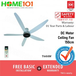 KDK Ceiling Fan with DC Motor 150cm with Remote Ctrl T60AW with FREE REPLACEMENT + EXTENDED WARRANTY