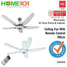 KDK Super Deluxe Ceiling Fan 150cm with Remote Ctrl Z60WS