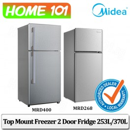 Midea Top Freezer 2 Door Refrigerator 253L / 370L [MRD268][MRD400] (Stock Arr Beginning Sept)