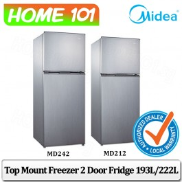 Midea Top Freezer 2 Door Refrigerator 193L / 222L [MD212][MD242] (Stock Arr Beginning Sept)
