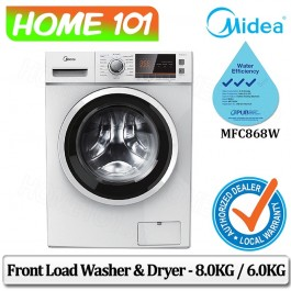 Midea Front Load Washer and Dryer - 8.0kg / 6.0kg MFC868W