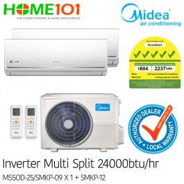 Midea Multi-Split AirCon Available in *with FREE Replacement Service* - [SYSTEM. 2] MS5OD-25/SMKP-09 + SMKP-12