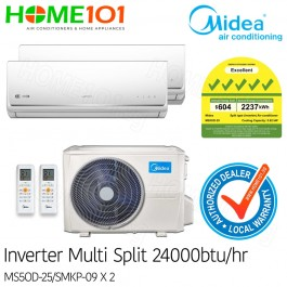 Midea Multi-Split AirCon Available in *with FREE Replacement Service* - [SYSTEM. 2] MS5OD-25/SMKP-09 X 2