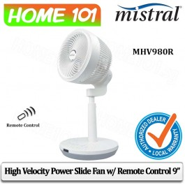 Mistral High Velocity Power Slide Fan with Remote Control 9 inch MHV980R
