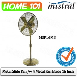 Mistral Metal Slide Fan /w 4 Metal Fan Blade 16 Inch MSF16MB
