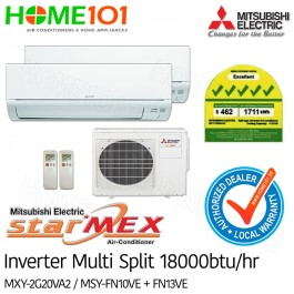 Mitsubishi StarMex Multi-Split AirCon Available in 5 Ticks *with FREE Replacement Service* - [SYSTEM. 2] MXY-2G20VA2/MSY-FN10VE + FN13VE