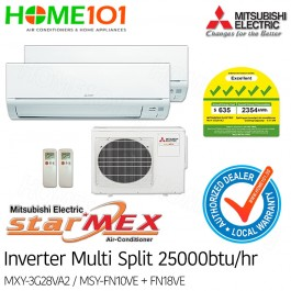 Mitsubishi StarMex Multi-Split AirCon Available in 5 Ticks *with FREE Replacement Service* - [SYSTEM. 2] MXY-3G28VA2/MSY-FN10VE + FN18VE