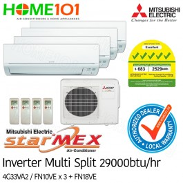 Mitsubishi StarMex Multi-Split AirCon Available in 5 Ticks *with FREE Replacement Service* - [SYSTEM. 4] MXY-4G33VA2/MSY-FN10VE X 3 + FN18VE