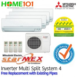Mitsubishi Multi Split AirCon [SYSTEM. 4] *with FREE Replacement Service*