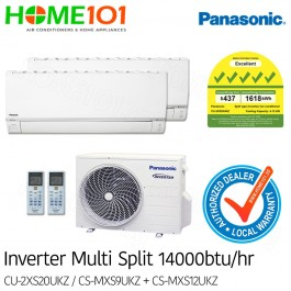 Panasonic Multi-Split AirCon *with FREE Replacement Service* - [SYSTEM. 2] CU-2XS20UKZ/CS-MXS9UKZ + CS-MXS12UKZ