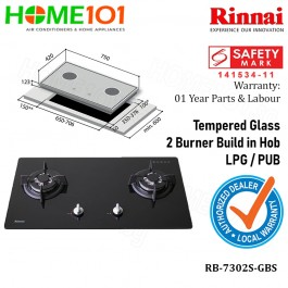 Rinnai Tempered Glass 2 Burners  Build In Hob RB-7302S-GBS