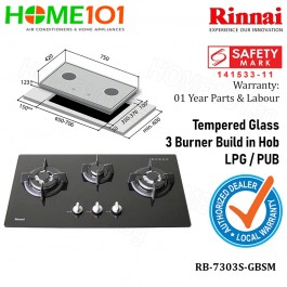 Rinnai Tempered Glass 3 Burners  Build In Hob RB-7303S-GBSM