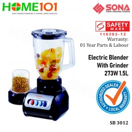 Sona Electric Blender with Grinder 1.5L 273W SB3012
