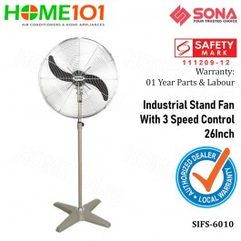 Sona Industrial Power Stand Fan with 3 Speed Control 26 Inch SIFS 6010