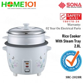 Sona Rice Cooker With Steam Tray 2.8L SRC 2028R