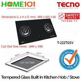 Tecno 2 Burners Tempered Glass Hob With Safety Valve  T-222TGSV