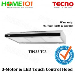 TECNO slim line cooker hood with revolutionary 3-motor design and LED touch control TH933-TC3