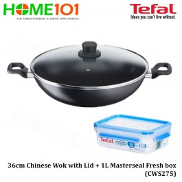 Tefal Cook' Easy Cookware Chinese Wok with Lid 36cm + Masterseal Fresh box 1L CWS275