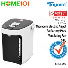 Toyomi Micro-com Electric Airpot with Battery Pack and Ventilating Fan 5.0L EPA 5588