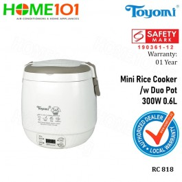 Toyomi Mini Rice Cooker with Duo Pot 300W 0.6L RC 818
